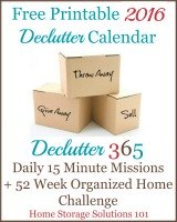 Free printable 2016 declutter calendar