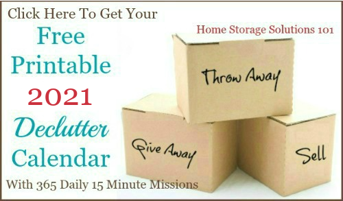 Click here to get your free printable 2021 declutter calendar