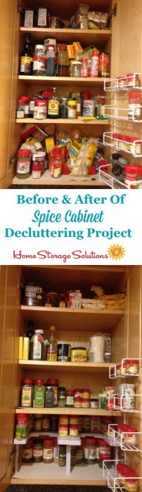 Before and after of spice cabinet decluttering project. Part of the #Declutter365 missions on Home Storage Solutions 101.
