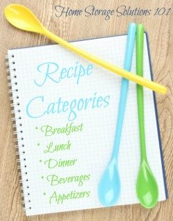 Suggested recipes categories to use when organizing recipes in either a binder or card box {plus free printable table of contents if using binder} on Home Storage Solutions 101