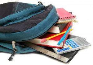 school supplies in backpack