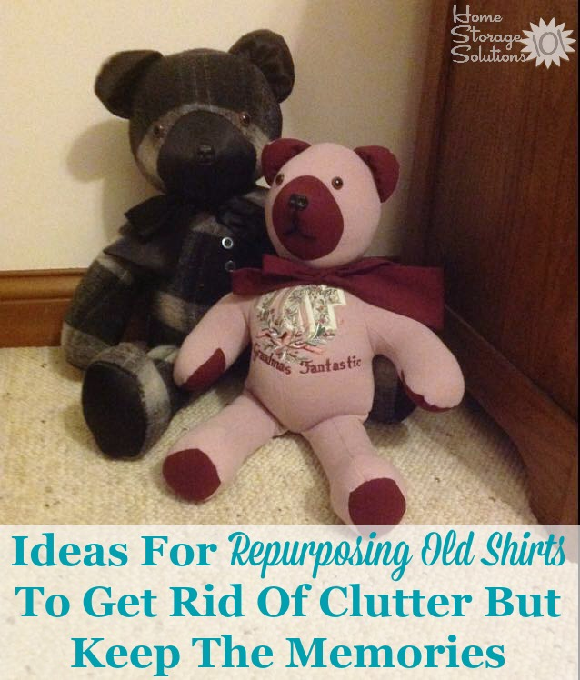 Ideas for repurposing old t-shirts to get rid of clutter but keep the special memories that the shirt and clothing represents {on Home Storage Solutions} #DeclutterShirts #ClothingClutter #RepurposeTShirts