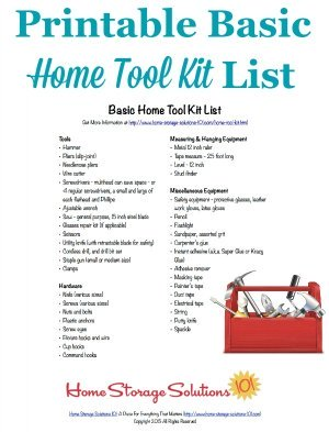 Free printable home tool kit list to make sure you have all the essential tools necessary for basic home repairs and improvements {courtesy of Home Storage Solutions 101} #ToolKit #Printable #Toolbox