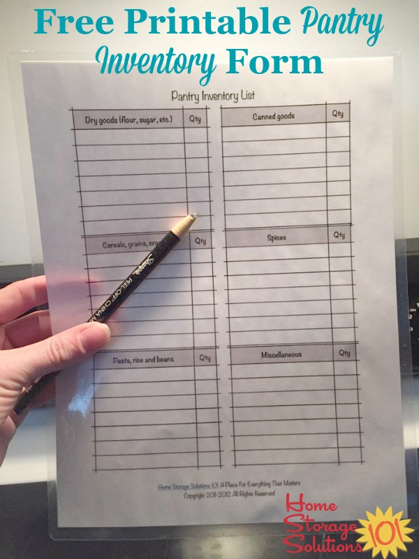 free printable pantry list  keep an inventory and stay