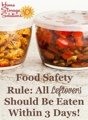 Food safety rule - all leftovers should be eaten within 3 days {on Home Storage Solutions 101}