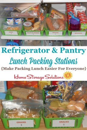 Examples of refrigerator and pantry lunch packing stations, used to make packing lunch for school or work easier for everyone in the family {featured on Home Storage Solutions 101} #PackLunches #PantryOrganization #RefrigeratorOrganization