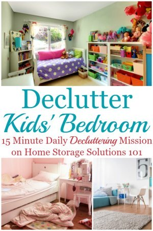 Here are instructions and tips for how to get rid of kids bedroom clutter without getting overwhelmed by the process, and not making a bigger mess, focusing on clothes, toys, games, and whatever else clutter you find in there {several #Declutter365 missions on Home Storage Solutions 101} #DeclutterKidsBedroom #DeclutterBedroom