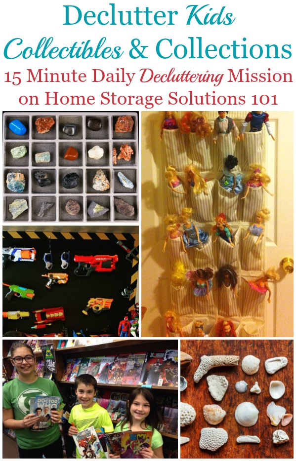 Here are easy steps for how to declutter kids collectibles and collections, of whatever variety they may be, to remove clutter without getting rid of things your child truly cherishes {a #Declutter365 mission on Home Storage Solutions 101} #DeclutterKidsCollectibles #DeclutterCollectibles