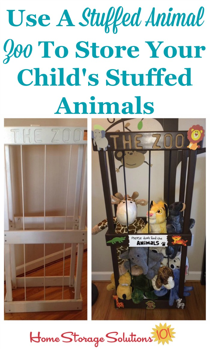 If your kids have a lot of stuffed animals they love, a stuffed animal zoo can help you store them all together while still allowing your kids to pull out and play with the ones they want easily {on Home Storage Solutions 101} #StuffedAnimalZoo #StuffedAnimalStorage #StuffedAnimalOrganization