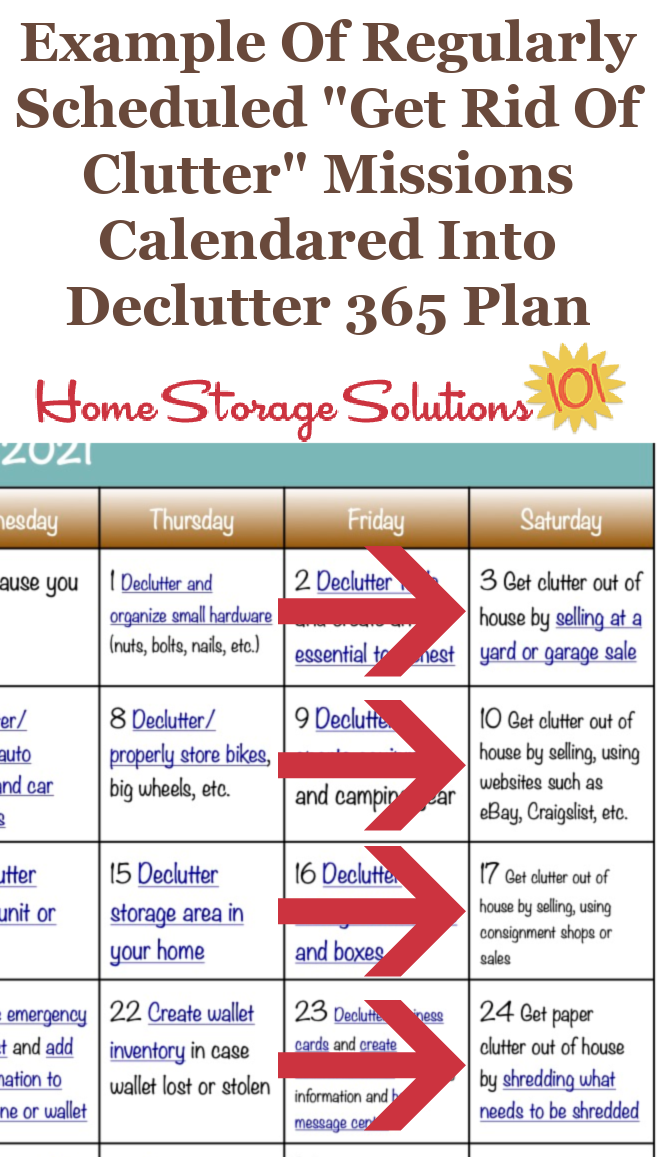 To help you get rid of the clutter in your home, the Declutter 365 missions regularly calendar missions to remove the clutter from your home {on Home Storage Solutions 101} #Decluttering #Declutter365 #Declutter