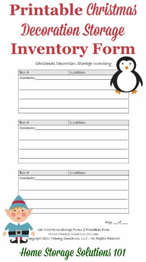 Free printable Christmas storage inventory form to keep track of where you've stored your Christmas decorations. {courtesy of Home Storage Solutions 101}