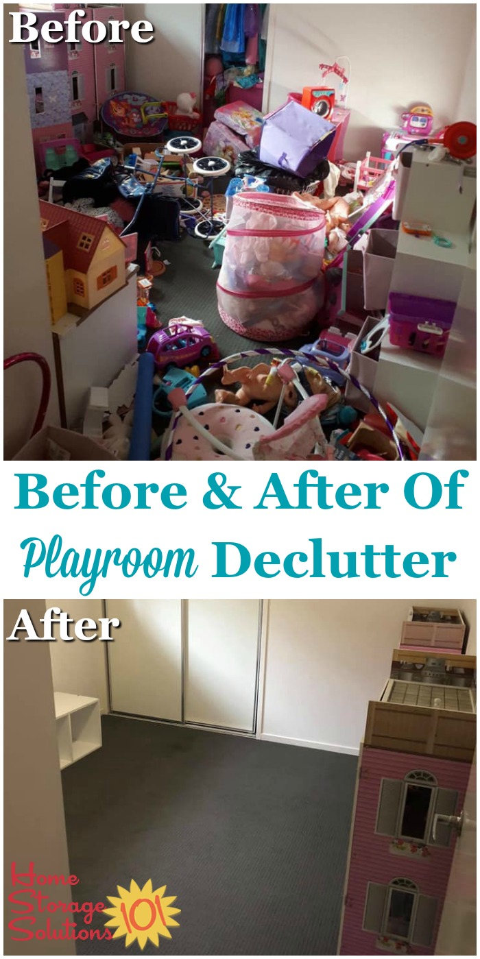 Before and after of playroom declutter {on Home Storage Solutions 101}
