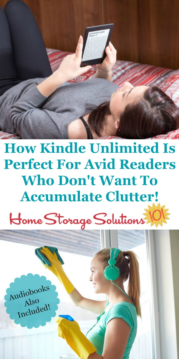The Kindle Unlimited subscription service is perfect for anyone who enjoys reading a lot, wants to save money while maintaining their reading habit, and wants less physical book clutter, as well as less digital clutter {featured on Home Storage Solutions 101} #KindleUnlimited #BookClutter #DigitalClutter