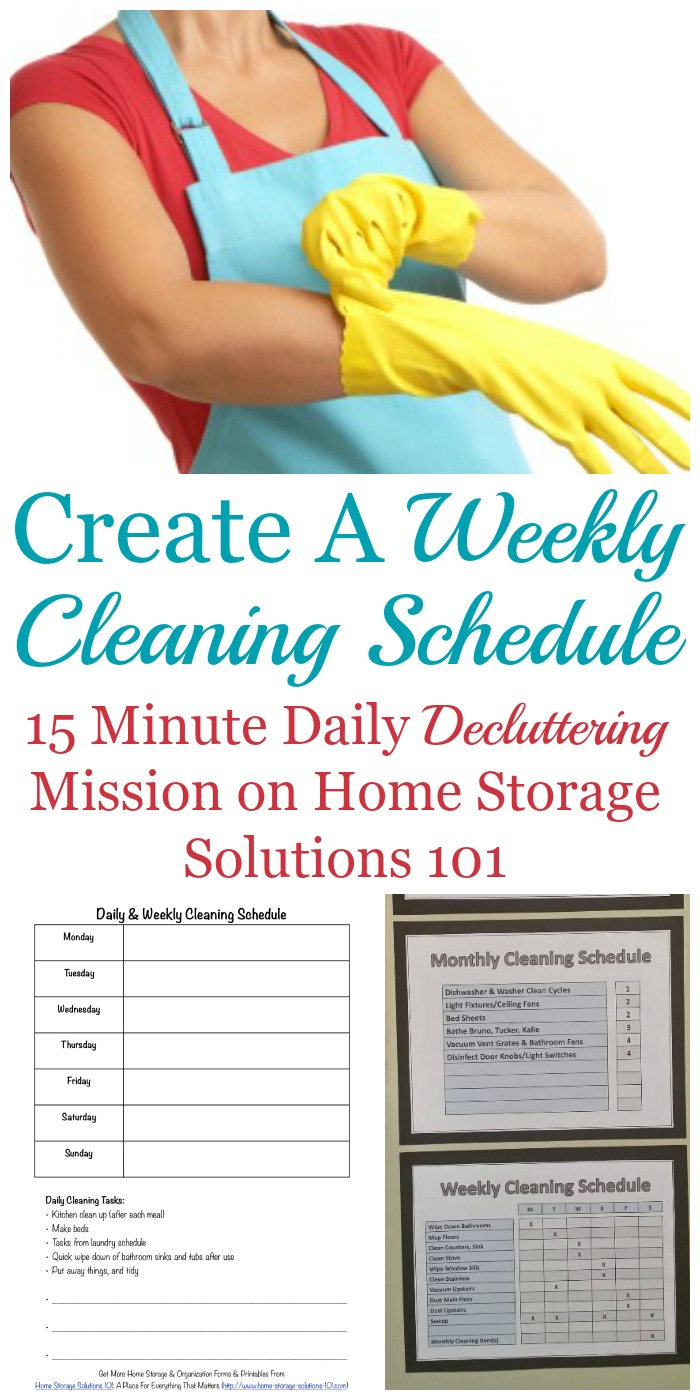 #Declutter365 daily mission to create a weekly cleaning schedule in your home that fits your personality, home and life, as well as instructions for how to combine it with your daily cleaning chores to keep a clean house most of the time {on Home Storage Solutions 101} #CleaningSchedule #CleaningRoutine