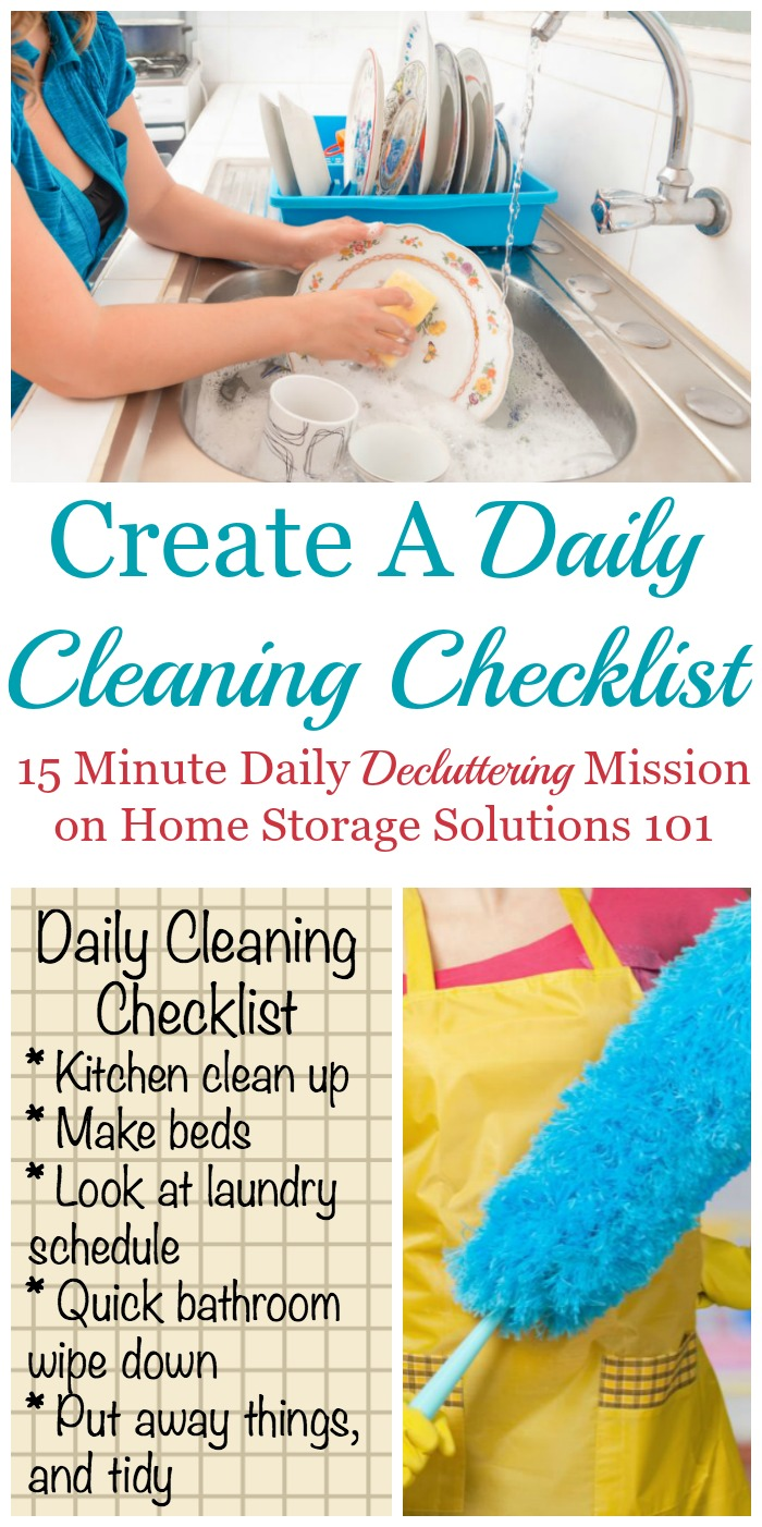 The #Declutter365 mission for the day is to create a daily cleaning checklist for your own home, using one as a guide and personalizing as needed {on Home Storage Solutions 101} #CleaningChecklist #CleaningSchedule