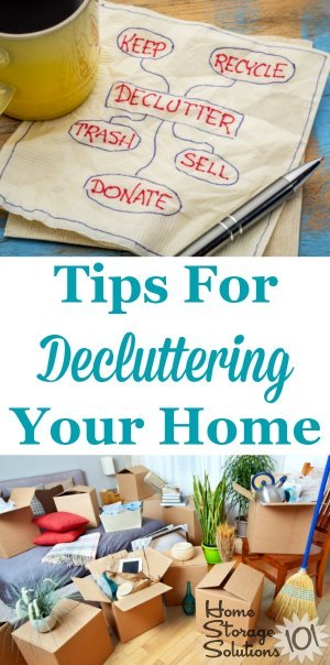 Tips for #decluttering your home, including dealing with emotions and psychology surrounding #clutter, plus practical tips for removing junk and excess stuff from every room in your home {a series on Home Storage Solutions 101} #Declutter