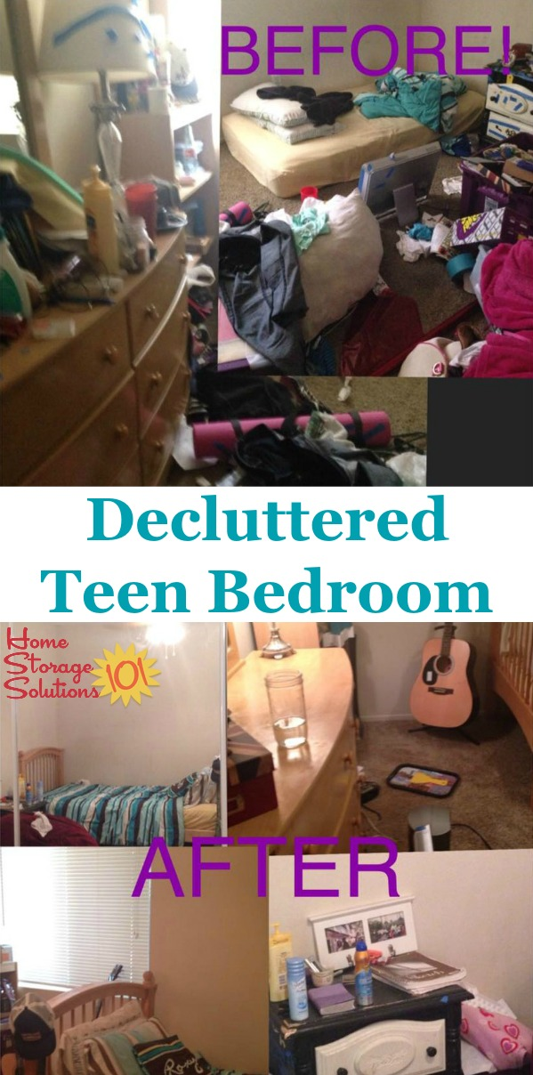 Before and after photos when decluttering teen's bedroom {on Home Storage Solutions 101} #BedroomClutter #DeclutterBedroom #DeclutteringBedroom