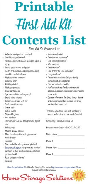 Free printable first aid kit contents list with what you need in your home for minor emergencies and injuries {on Home Storage Solutions 101} #FirstAidKit #EmergencyPreparedness #SafetyTips
