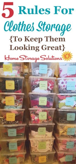 The 5 rules of clothes storage to keep them free from damage while they're stored, and looking great again when you pull them back out {on Home Storage Solutions 101}