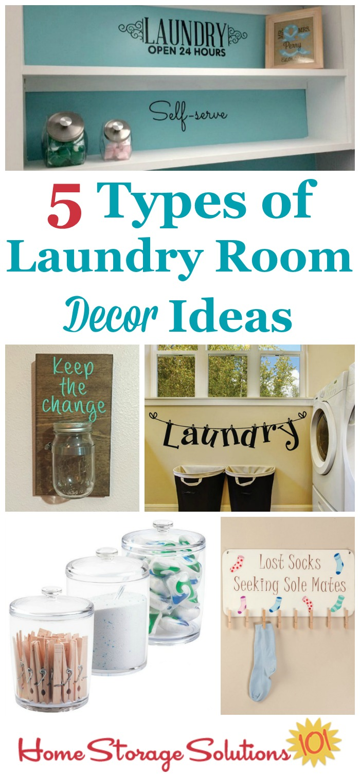 5 types of laundry room decor ideas, including both fun ideas as well as those which allow for decoration while still having practical uses {on Home Storage Solutions 101}