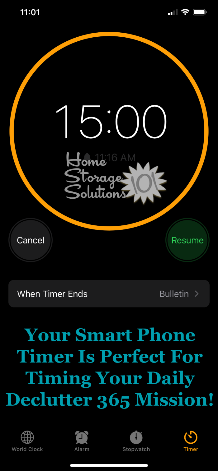 Your smart phone timer is perfect for timing your daily Declutter 365 mission! {on Home Storage Solutions 101} #decluttering #timer