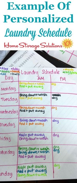 Example of a personalized laundry schedule made by Andrea, after asking herself the four questions suggested in the #Declutter365 mission {find out how to make a laundry schedule that works for you on Home Storage Solutions 101}