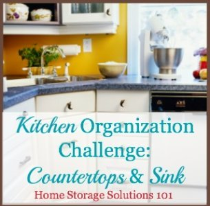 Steps for organizing and clearing off your kitchen countertops {part of the 52 Week to an Organized Home Challenge on Home Storage Solutions 101} #OrganizeKitchen #OrganizingKitchen #KitchenTips