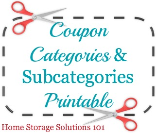 List of coupon categories and subcategories for organizing your coupons, including free printable that can be used as a table of contents for your coupon binder.