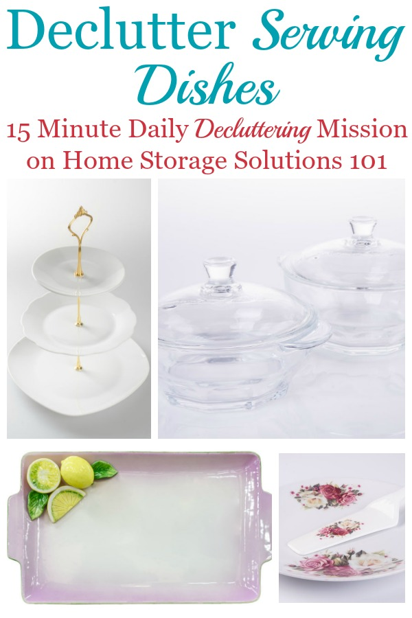 Here are instructions for how to declutter serving dishes, to keep your kitchen or dining room from being cluttered, and only keeping what you love and actually use {a #Declutter365 mission on Home Storage Solutions 101} #DeclutterDishes #DeclutterKitchen