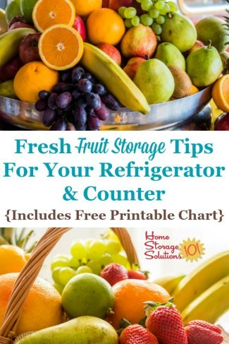Here are tips for fresh fruit storage on your counter, and in the refrigerator, to keep it fresh and tasting good. A free printable storage chart is included {on Home Storage Solutions 101} #FruitStorage #ProduceStorage #StoringFruit