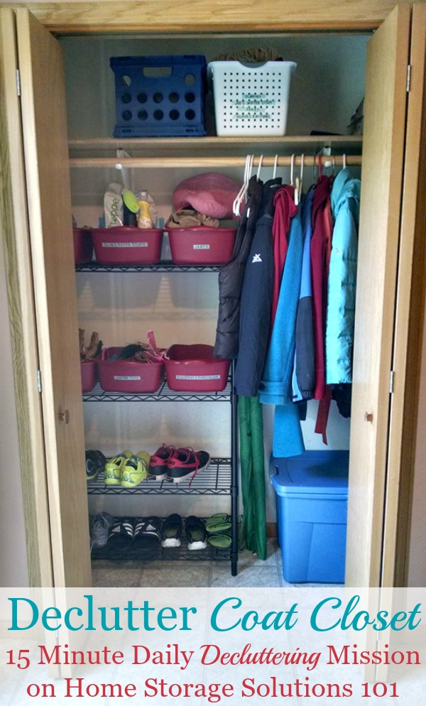 Here is how to declutter your coat closet, or entry closet, so that it can perform its intended function of holding coats and other items for family members and guests {a #Declutter365 mission on Home Storage Solutions 101} #DeclutterCoatCloset #DeclutterCloset