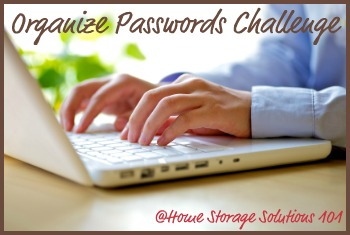 organize passwords challenge