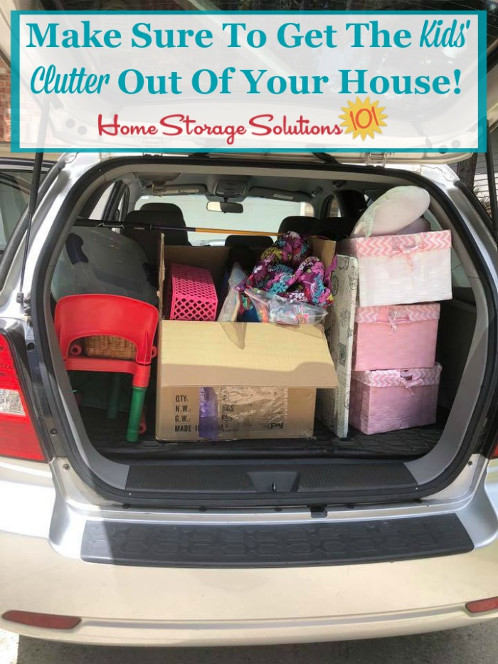To finish the decluttering process make sure to get the clutter out of your home, physically taken to be donated, sold, trashed, or recycled! {featured on Home Storage Solutions 101} #Declutter365 #KidsClutter #Decluttering