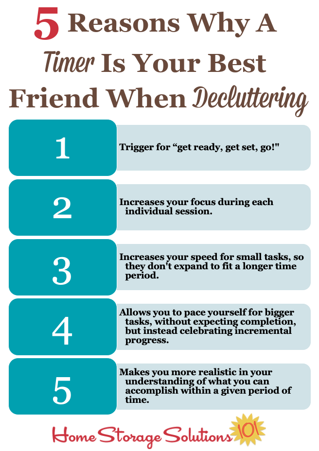 Here are 5 reasons why a timer is your best friend when decluttering {on Home Storage Solutions 101} #decluttering #timer