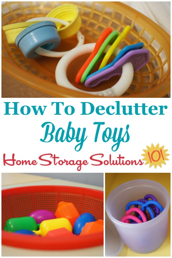 How to declutter baby toys from your home {on Home Storage Solutions 101} #DeclutterToys #KidsClutter #BabyClutter