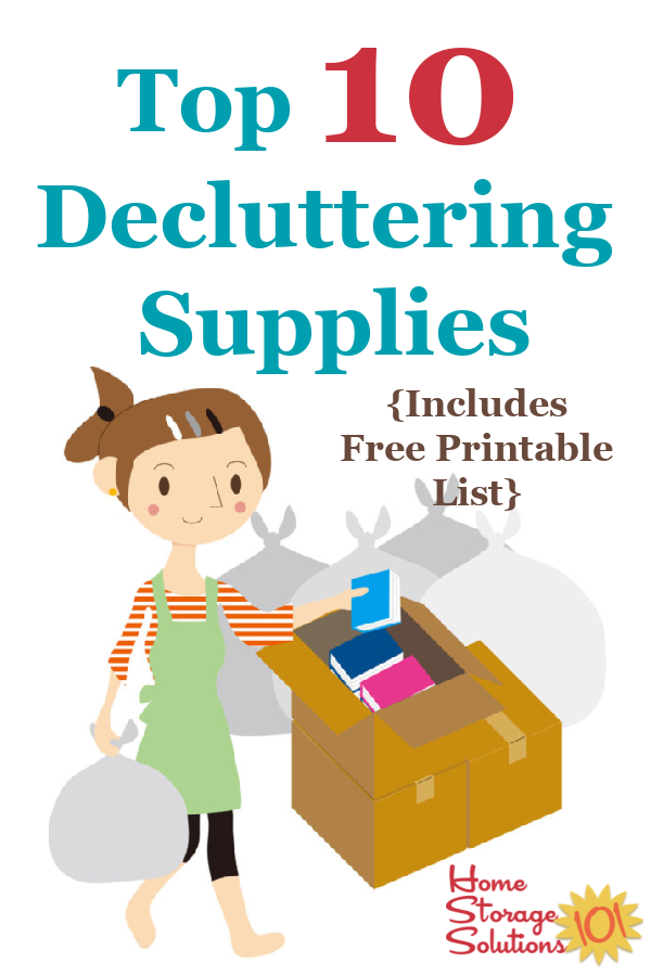 Here is a list of the top 10 decluttering supplies you may need when clearing clutter from your home, using the Declutter 365 system {on Home Storage Solutions 101} #DeclutteringSupplies #Declutter365