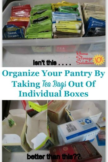Organize your pantry by taking tea bags out of their individual boxes and putting them in one tea bag storage container or organizer {featured on Home Storage Solutions 101} #TeaStorage #TeaOrganizer #TeaBagStorage
