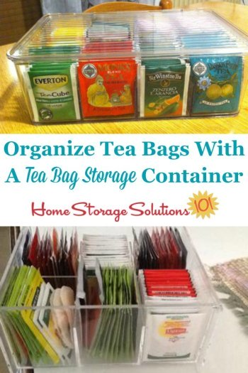 Organize tea bags with a tea bag storage container or organizer {featured on Home Storage Solutions 101} #TeaStorage #TeaOrganizer #TeaBagStorage