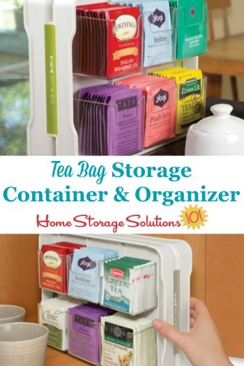 Use a tea bag storage container or organizer to hold tea bags in their packages while allowing everyone to see exactly which flavors and varieties are available {featured on Home Storage Solutions 101} #TeaStorage #TeaOrganizer #TeaBagStorage