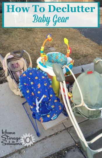 How to declutter baby gear, supplies and equipment from your home, including a list of places not to forget when doing this #Declutter365 mission {on Home Storage Solutions 101} #BabyClutter #Decluttering