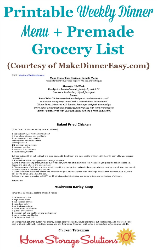 printable weekly dinner menu