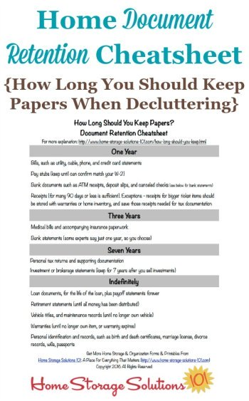 Free printable home document retention cheatsheet with information about how long you should keep papers when decluttering so you can feel comfortable with what to keep versus to toss, shred or recycle {courtesy of Home Storage Solutions 101} #DeclutteringPaper #PaperOrganization #FileOrganization