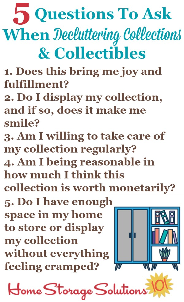 5 questions to ask when decluttering collections and collectibles, to decide if you should keep them or get rid of them {on Home Storage Solutions 101} #Declutter365 #Decluttering #DeclutteringTips