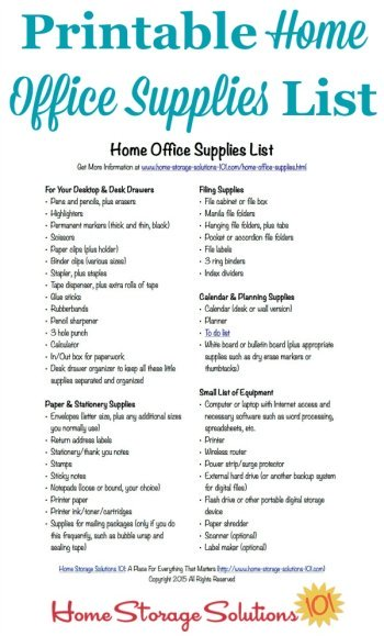 Free printable home office supplies list to make sure you're stocked with all necessary items to do your paperwork in your home {courtesy of Home Storage Solutions 101} #HomeOfficeSupplies #OfficeSuppliesList #HomeOfficeIdeas