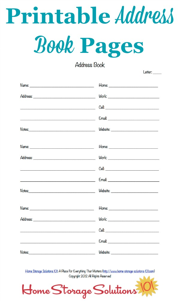 Free Printable Address Book Pages Get Your Contact