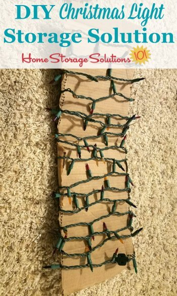DIY Christmas light storage solution to keep lights from getting tangled while in storage each year {on Home Storage Solutions 101} #ChristmasStorage #HolidayStorage #ChristmasLightsStorage