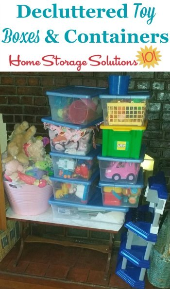 Decluttered toy boxes and containers {featured on Home Storage Solutions 101}