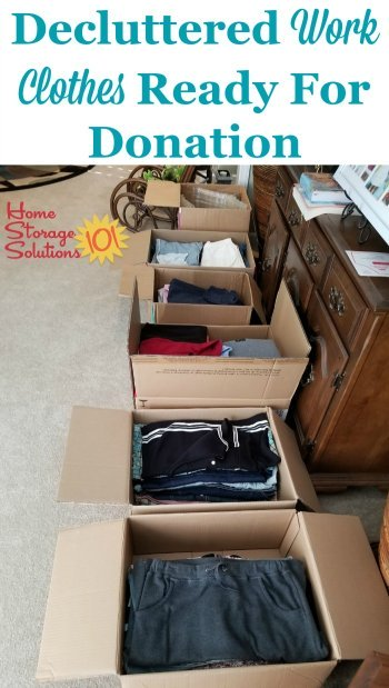 Decluttered work clothes and other workwear ready for donation, to get rid of closet clutter {featured on Home Storage Solutions 101}