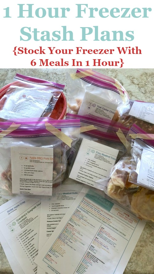 1 hour freezer stash plans, to stock your freezer with 6 meals in 1 hour, available as part of the Eat at Home meal plans {review on Home Storage Solutions 101} #FreezerMeals #FreezerCooking #PrepAheadMeals