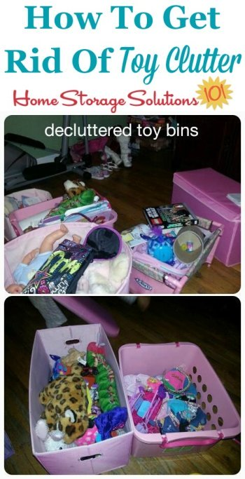 How to get rid of toy clutter from toy bins and boxes {featured on Home Storage Solutions 101} #ToyClutter #DeclutterToys #DeclutteringToys